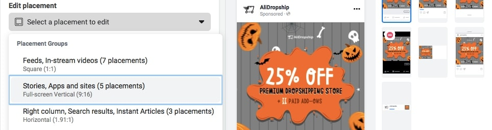 Picking ad placements when creating Facebook ads