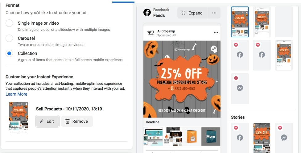 Screenshot of Facebook Ads Manager where the user creates a collection ad