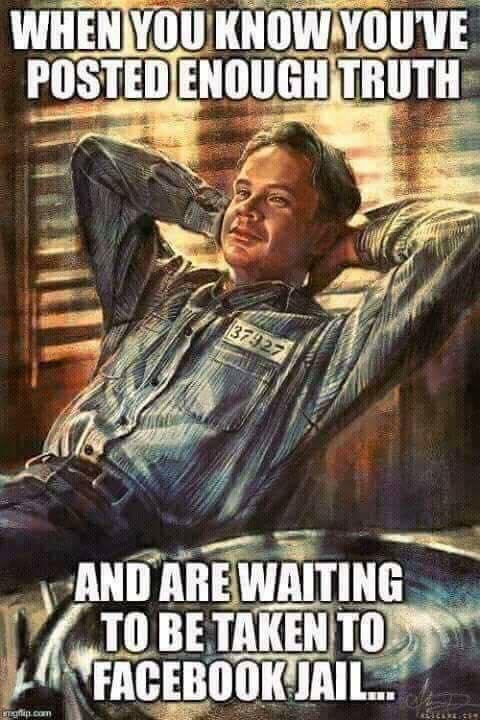 A Facebook jail meme that parodies The Shawshank Redemption
