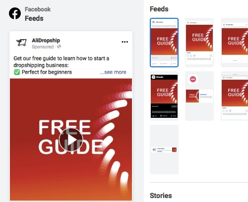 Screenshot of Facebook Ads Manager where the user picks a video for a new creative