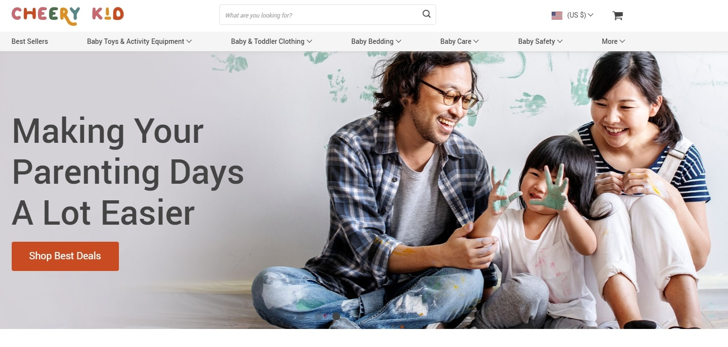 A homepage banner on a child products store depicting a happy family