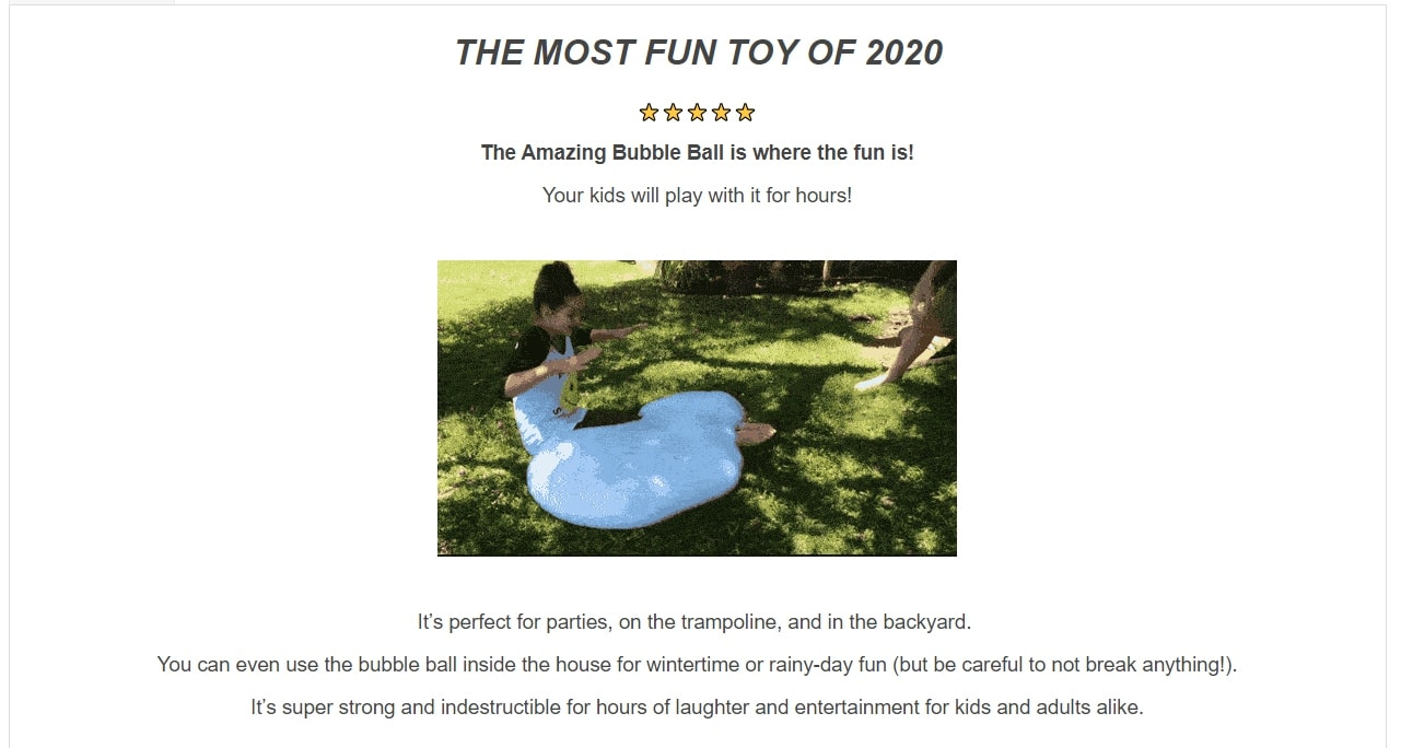 A product description containing a GIF file that demonstrates kids playing with the product