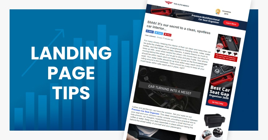 a cover of the article on landing page tips