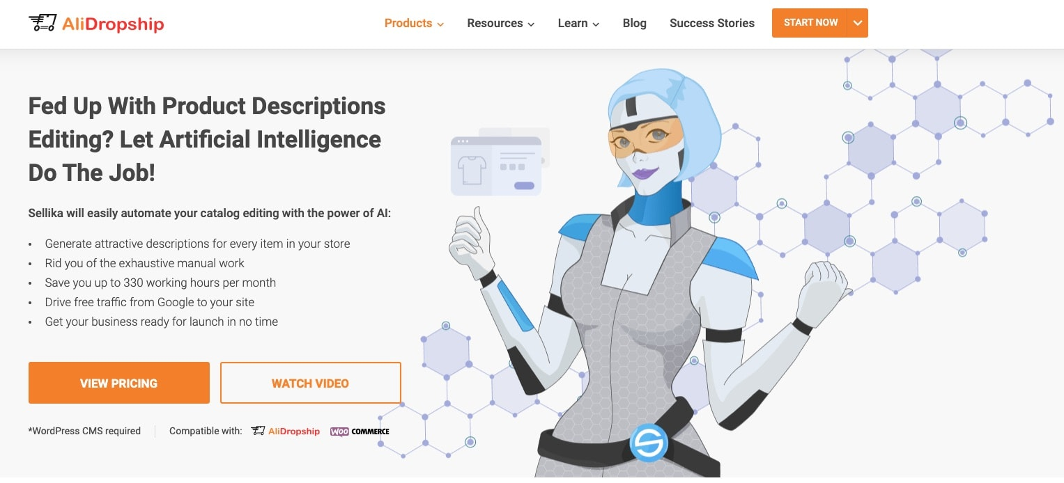 a picture that shows the homepage of AI product description generator from AliDropship