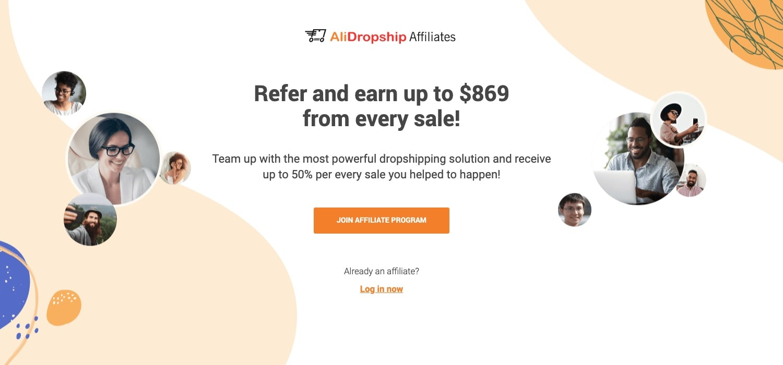 a screenshot of AliDropship affiliate program homepage