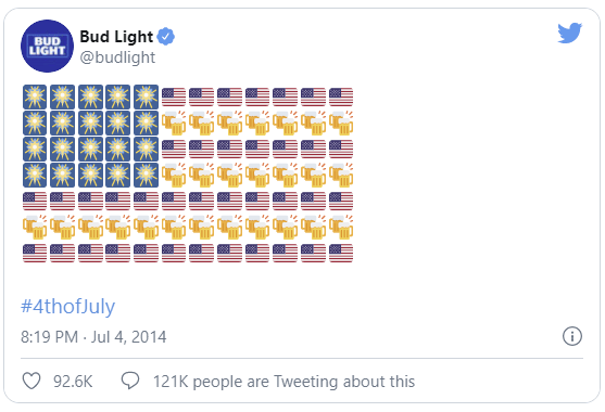 An example of Bud using emojis in a tweet to celebrate the Fourth of July