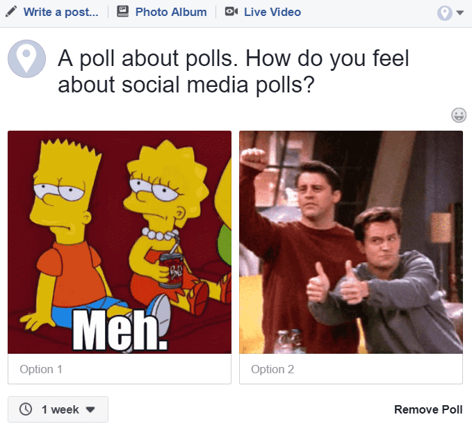 An example of a Facebook poll