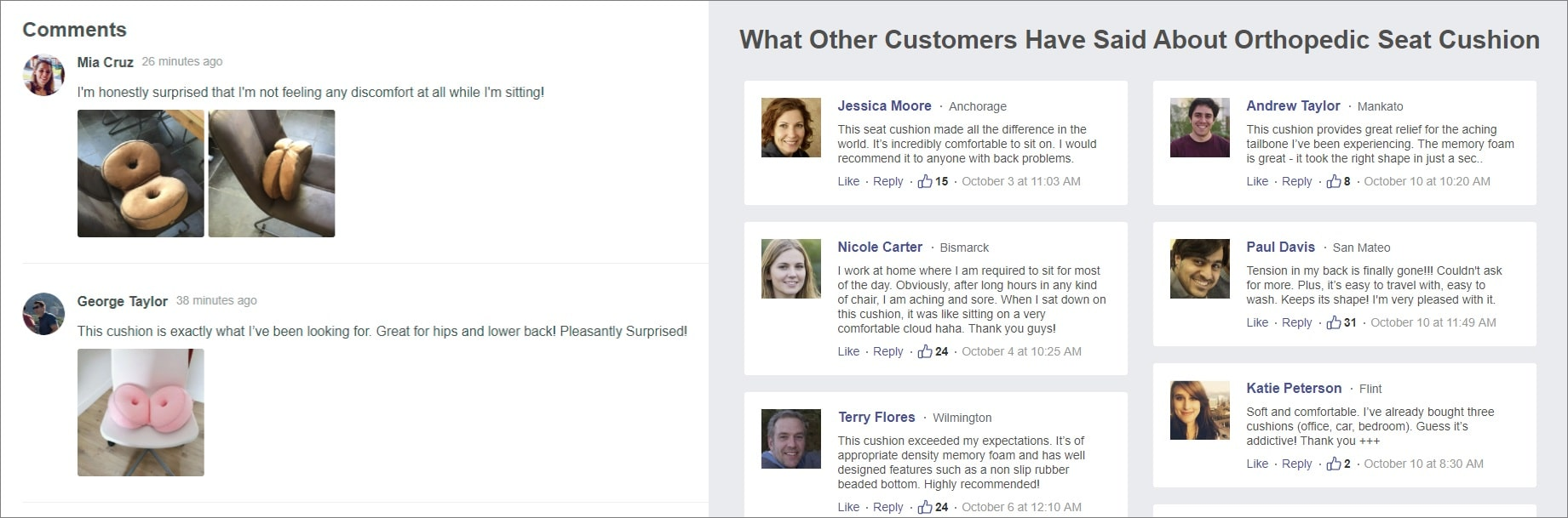 An example of customer reviews displayed on a landing page to serve as social proof