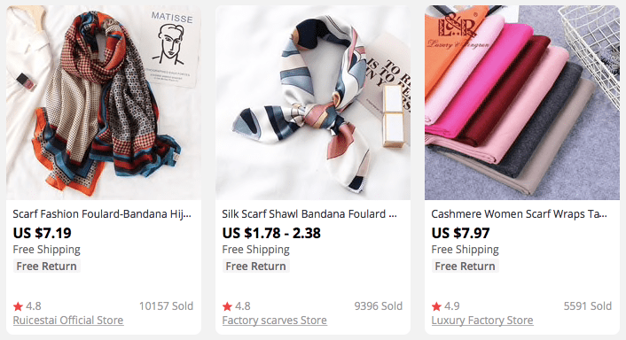 Colorful head scarves popular among AliExpress buyers - a new dropshipping niche idea for 2021
