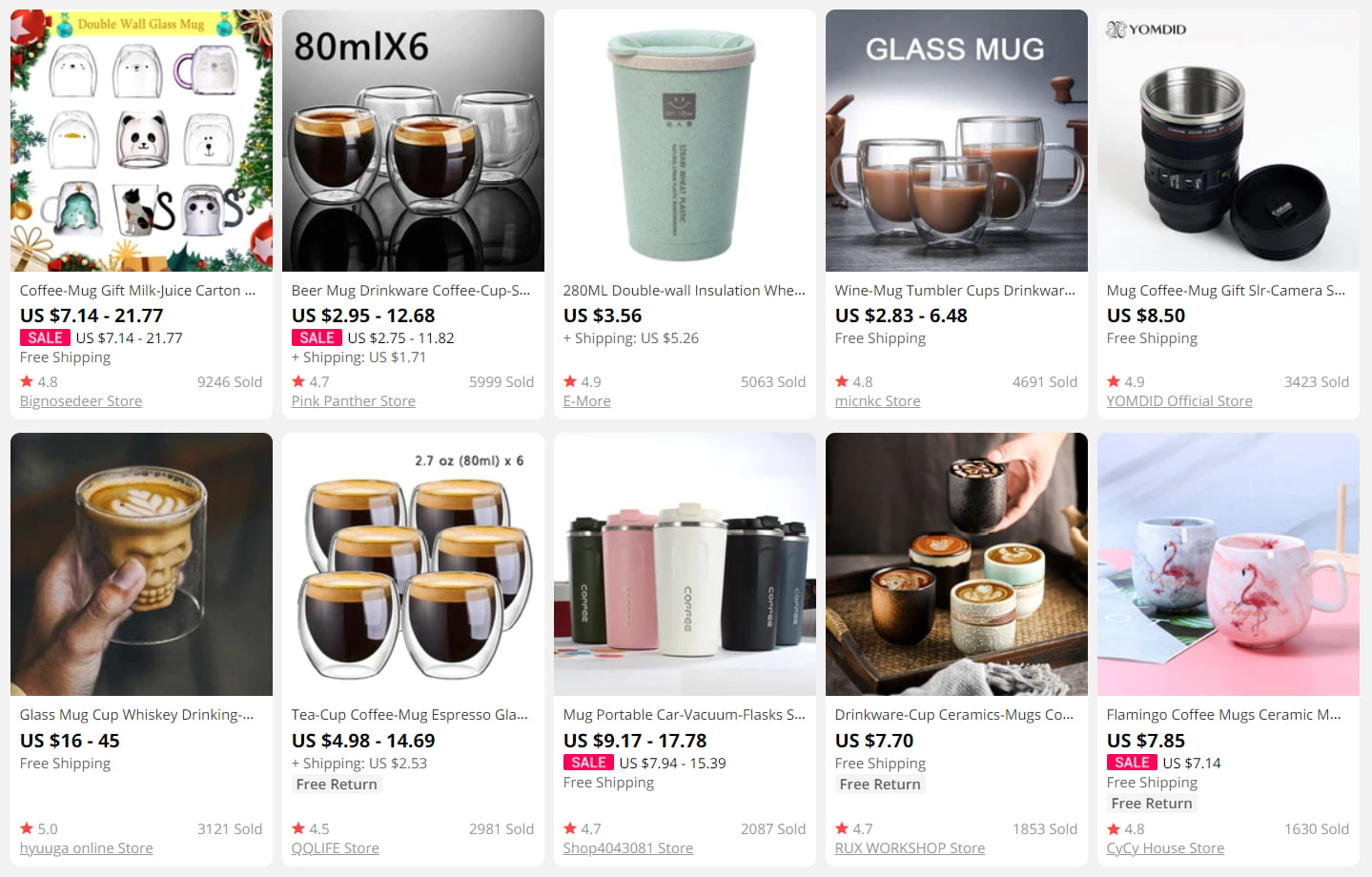 Cups and mugs on AliExpress