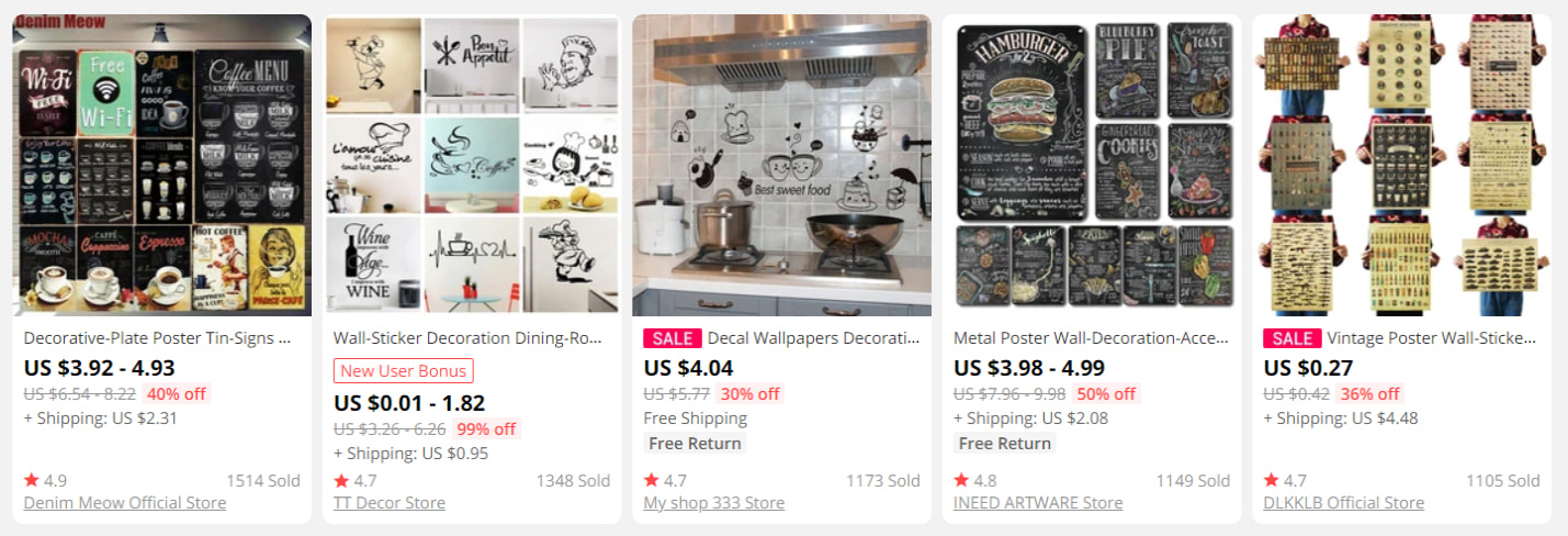 Coffee-related decor products on AliExpress
