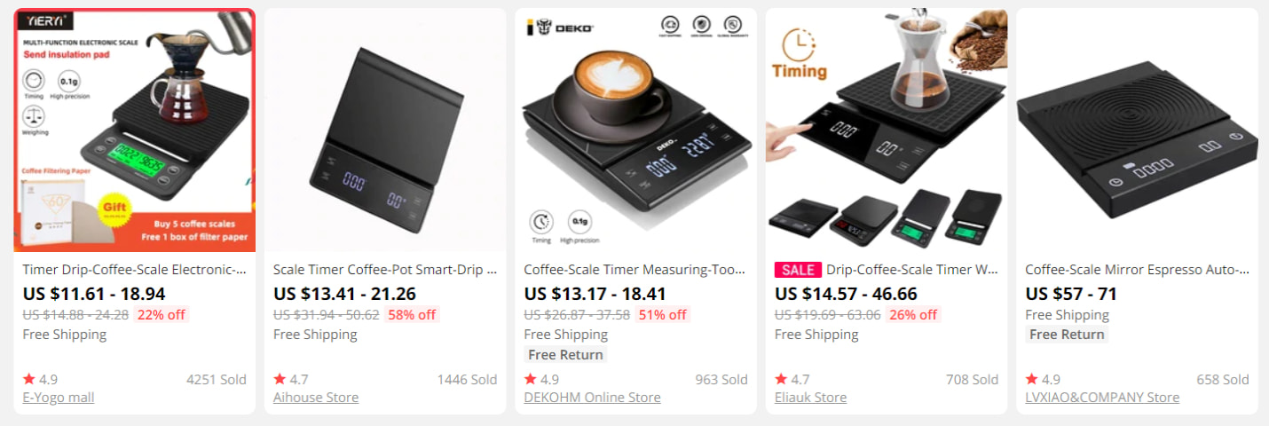 Five models of coffee scales found on AliExpress