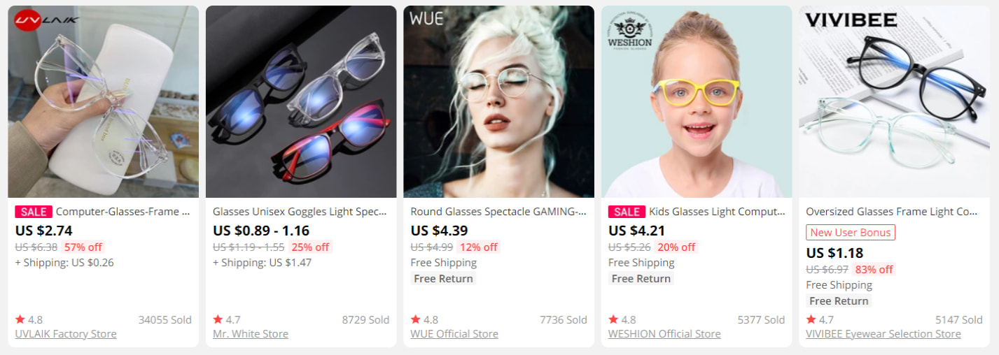 Computer glasses on AliExpress