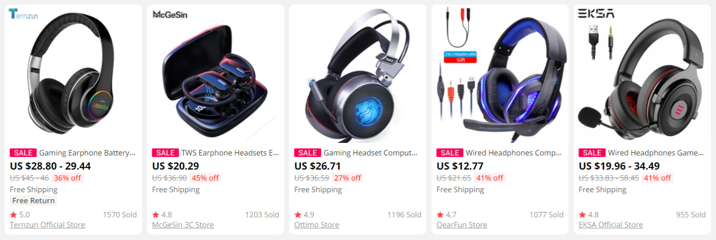 Gaming earphones on AliExpress