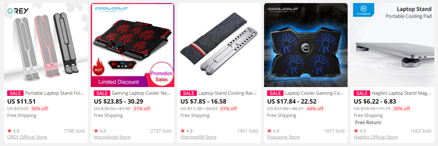 Laptop cooling stands on AliExpress is another good idea for dropshipping video games gear