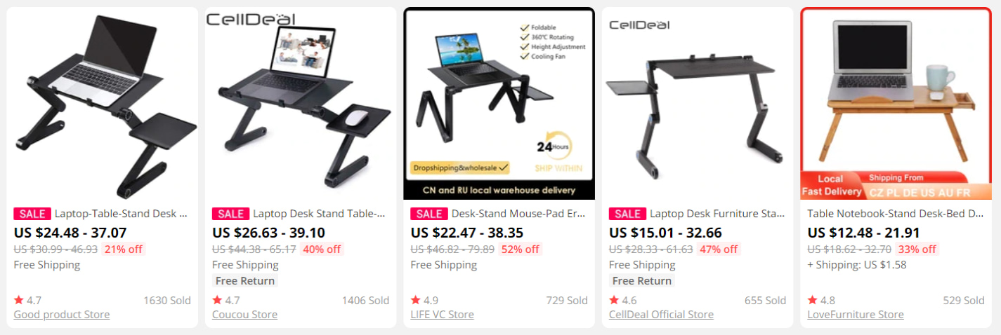 Five models of laptop desks on AliExpress