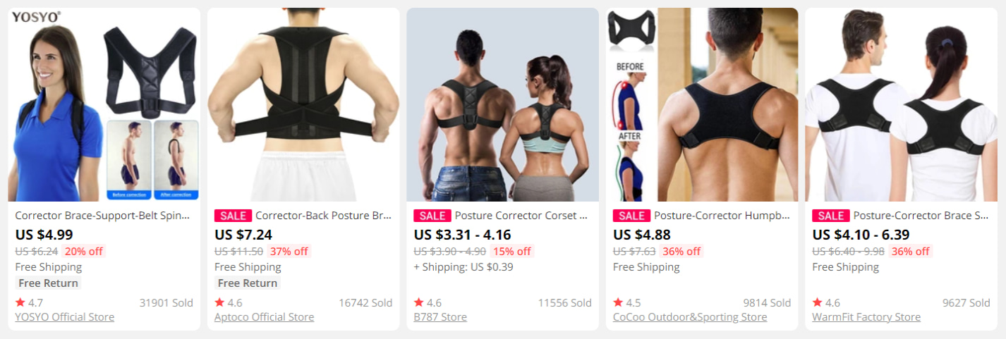 Posture correctors on AliExpress