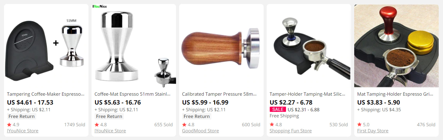 Cappuccino tampers and tamping sets on AliExpress