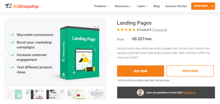 Landing Pages add-on: ecommerce tool for highlighting your winning product
