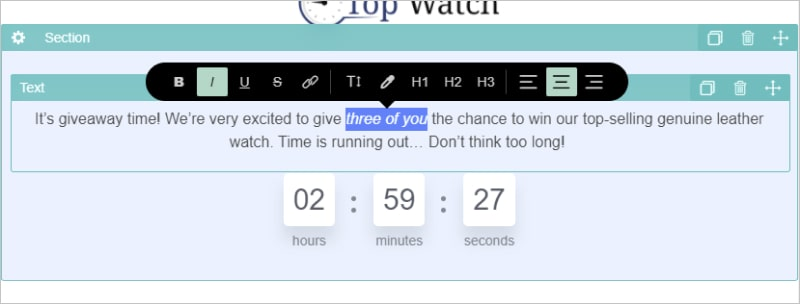 an image that shows a giveaway countdown timer you get