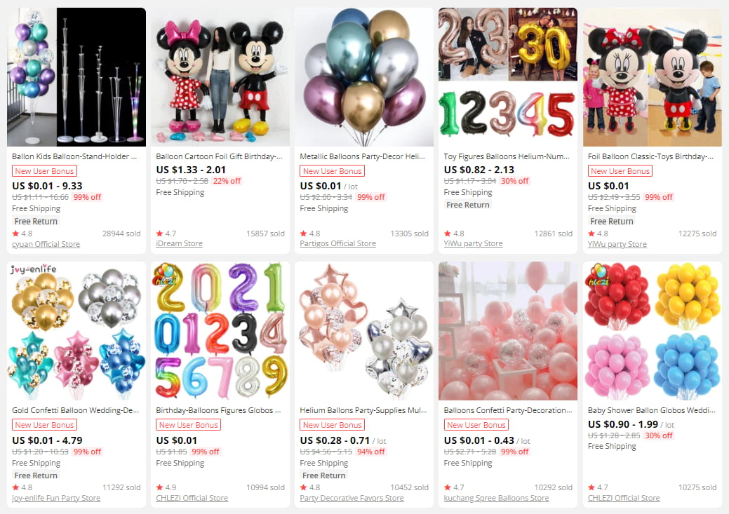 A gift-themed store cannot do without baloons