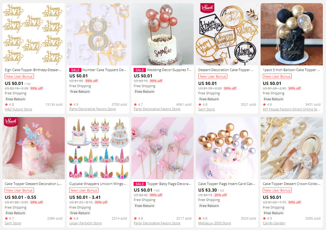 Birthday cake toppers are a good choice for a gift-themed online store