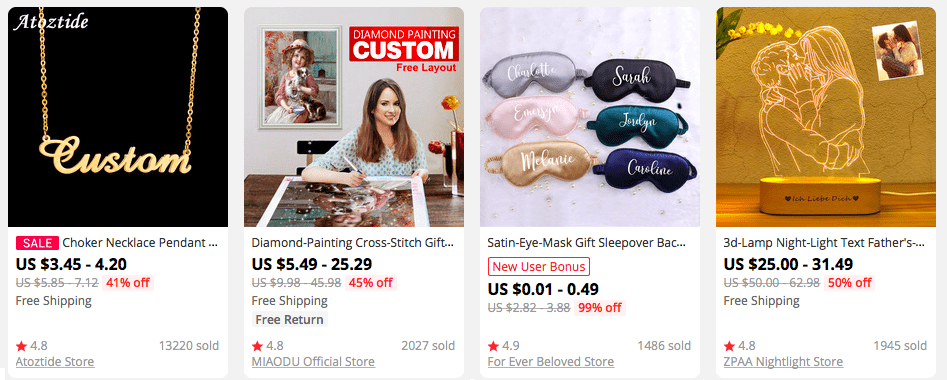 Customizable gifts on AliExpress