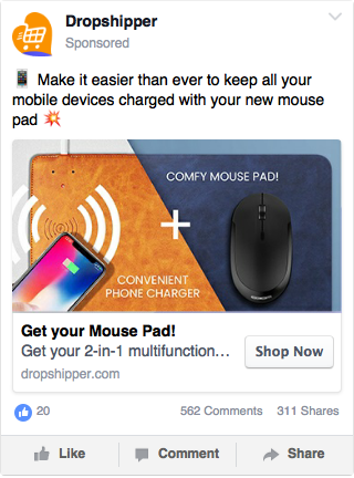 An example of a Facebook Feed ad