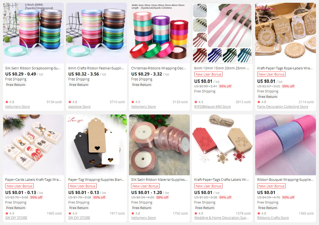 Gift-wrapping supplies on AliExpress