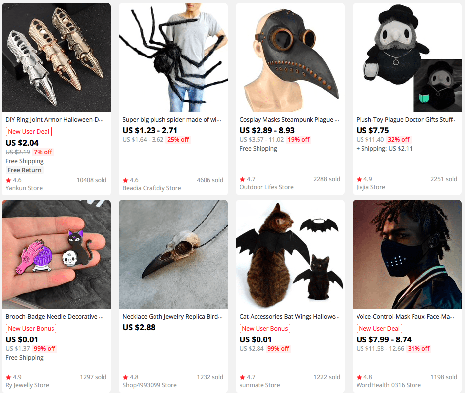 Halloween-themed products on AliExpress that can make great gifts