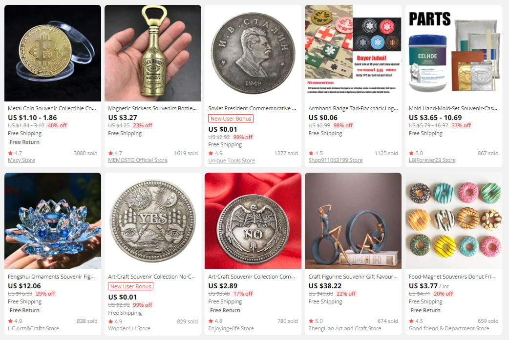 On AliExpress, you will find lots of souvenirs and interesting knickknacks.