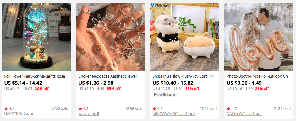 Valentine's Day presents on AliExpress you can use for dropshipping