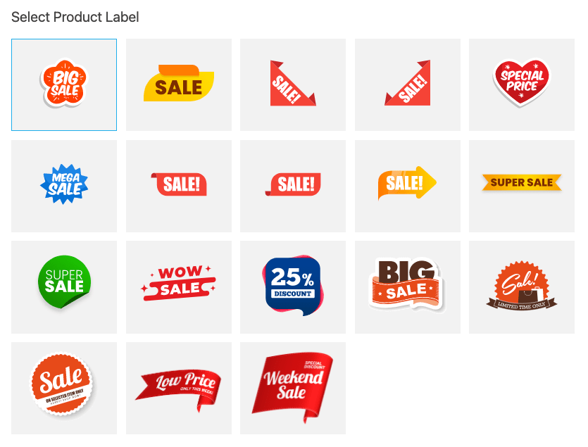 an image showing examples of custom product labels this add-on suggests