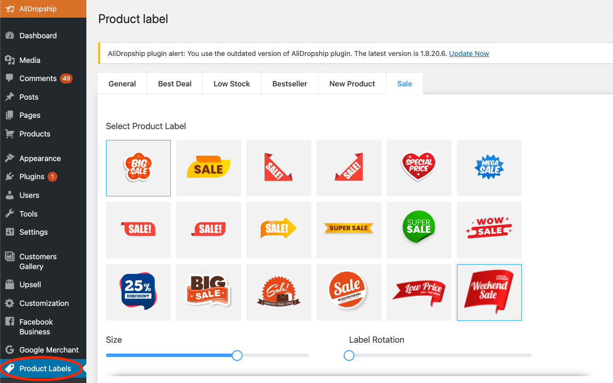 a screenshot demonstrating how to use product labels add-on for business