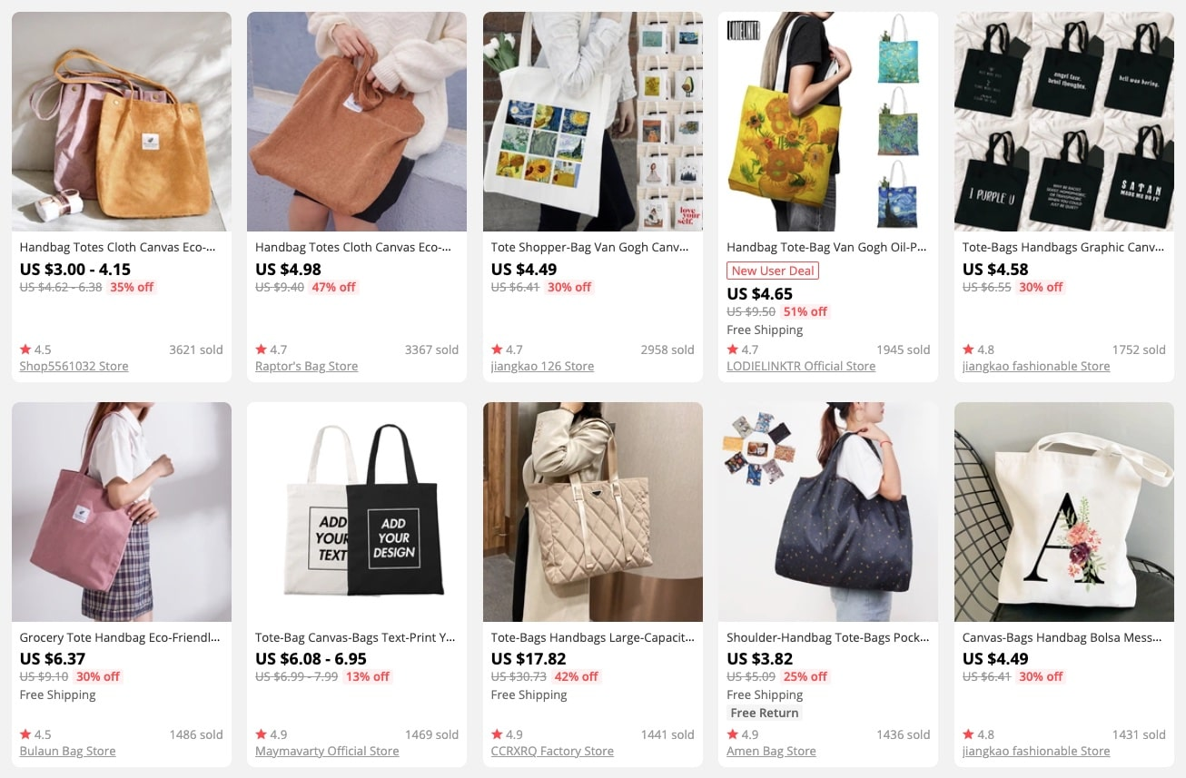 a picture showing tote bags as hot products in spring and summer to sell for profit