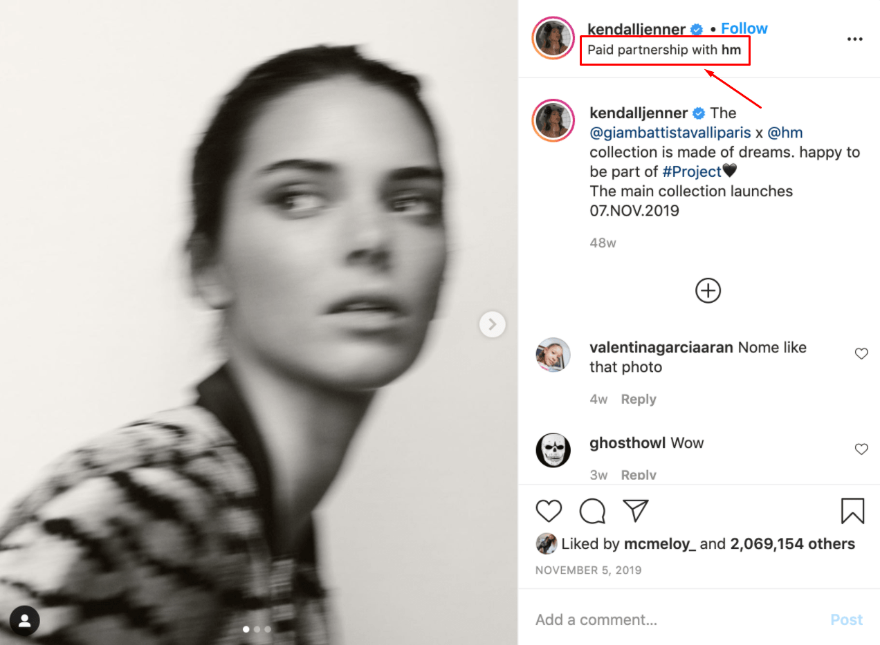 An example of an Instagram sponsored post featuring Kendall Jenner