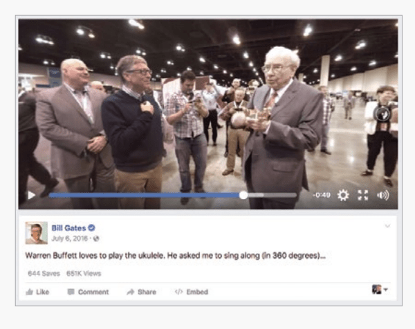 An example of Facebook 360 feature