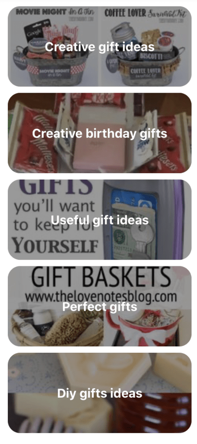 The 'Gift' tab on Pinterest