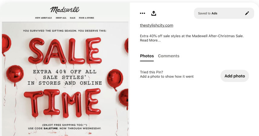 An example of a stylish Pinterest post with a reader-friendly caption