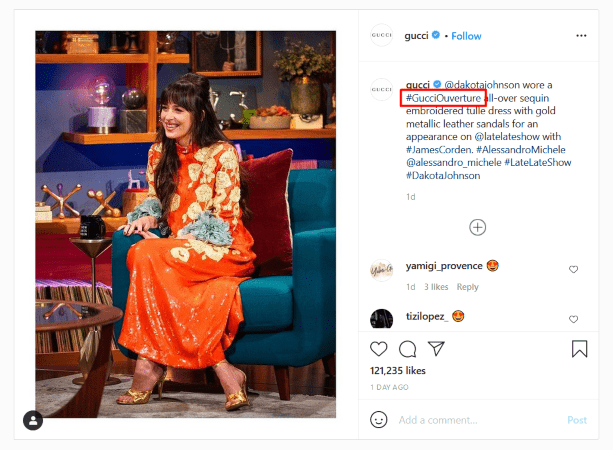 An example of using branded hashtags on your social media posts