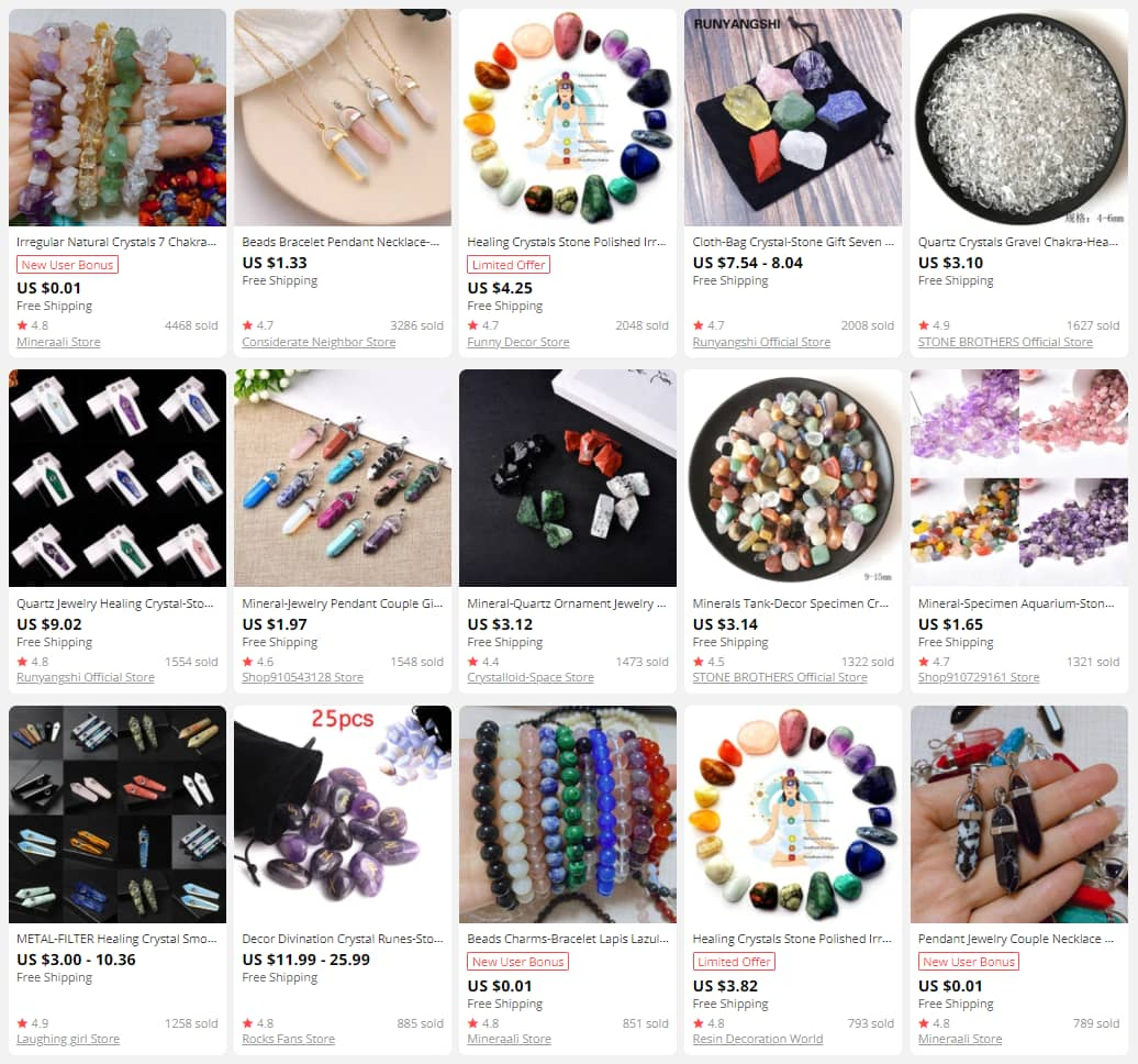 Crystals and natural stones are a must for a mystic online store