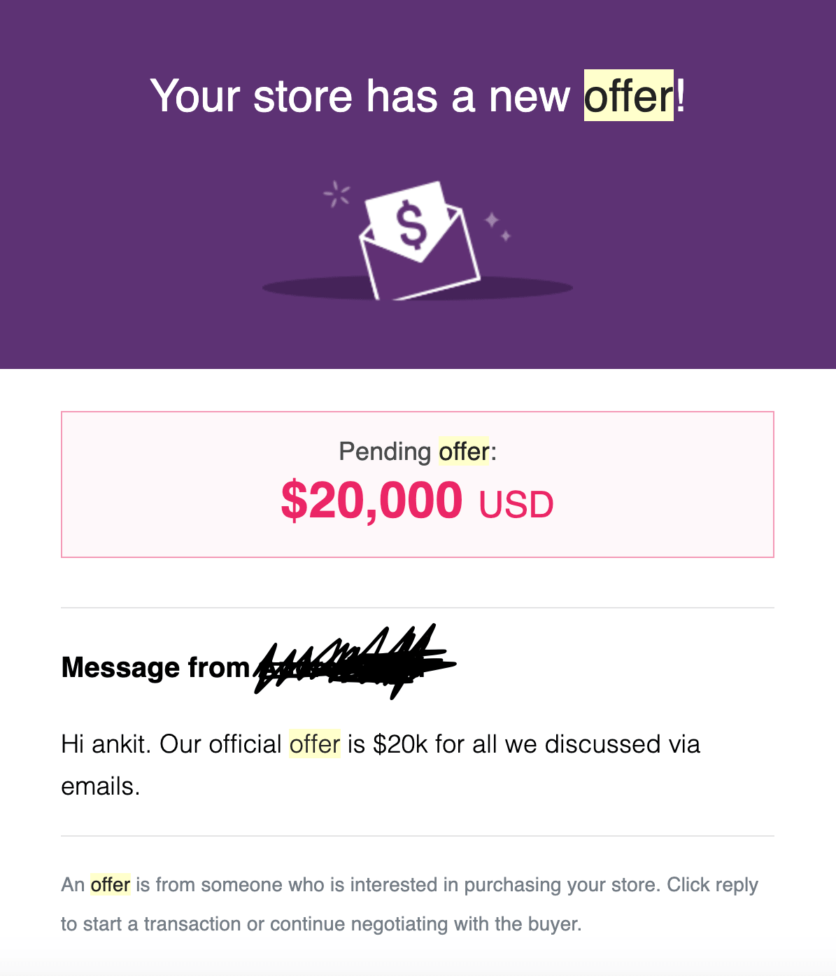 An incoming offer to buy an already functioning dropshipping store
