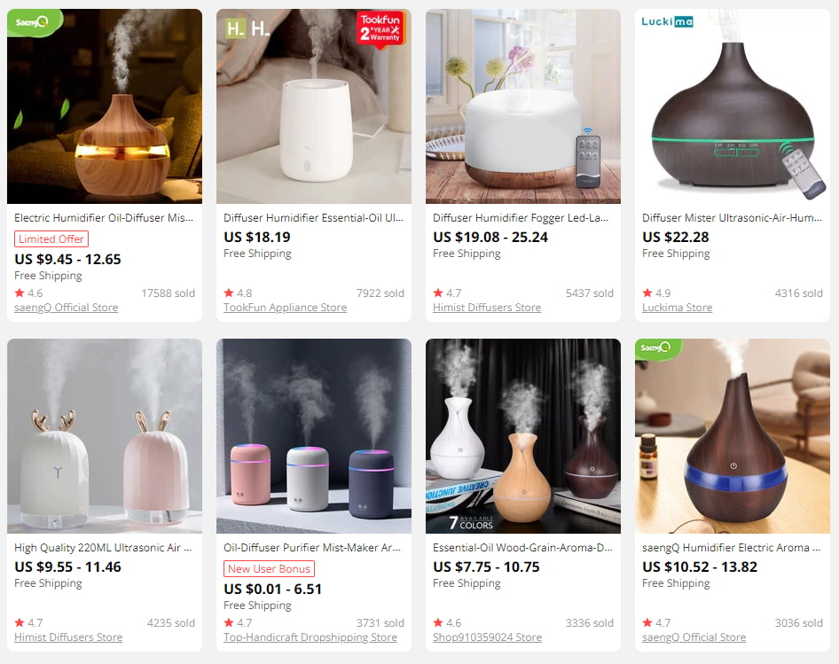 Essential oil diffusers will make good holistic products for an online shop