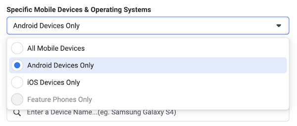 Specifying mobile devices to deal with iOS 14 Facebook ads impact