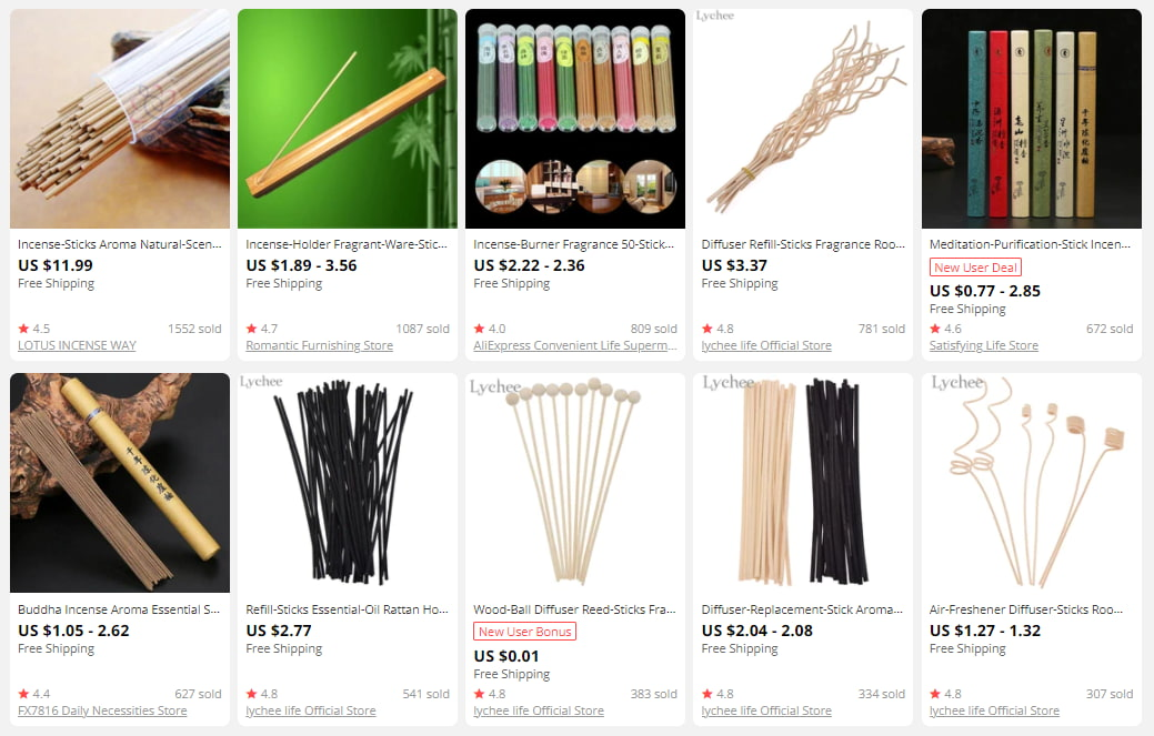 Incense sticks on AliExpress for dropshipping