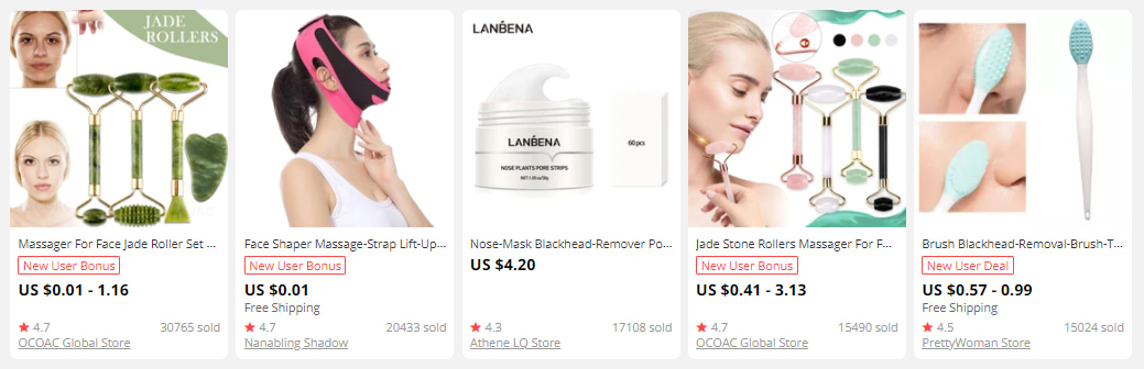 Skin care goods on AliExpress