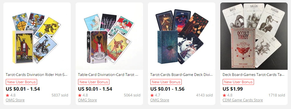 Tarot card decks for dropshipping