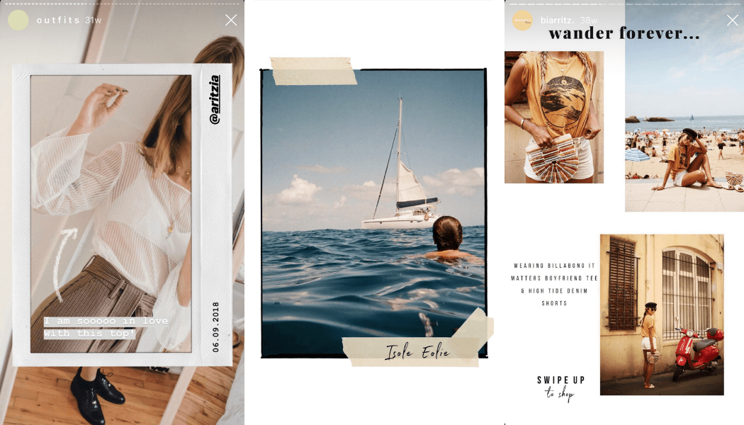 Examples of Instagram post templates made with Unfold