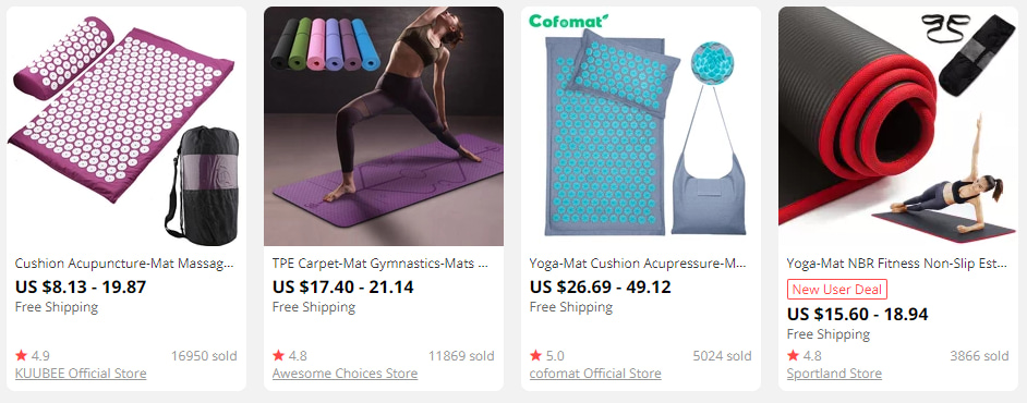 Yoga equipment on AliExpress