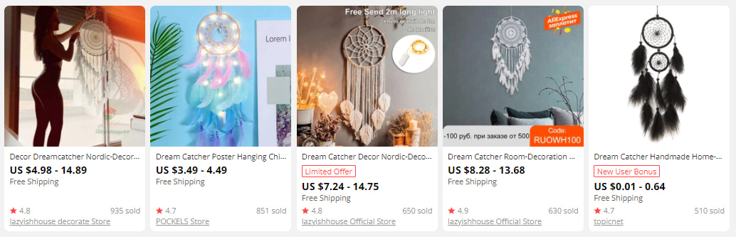 Dream catchers you can buy on AliExpress